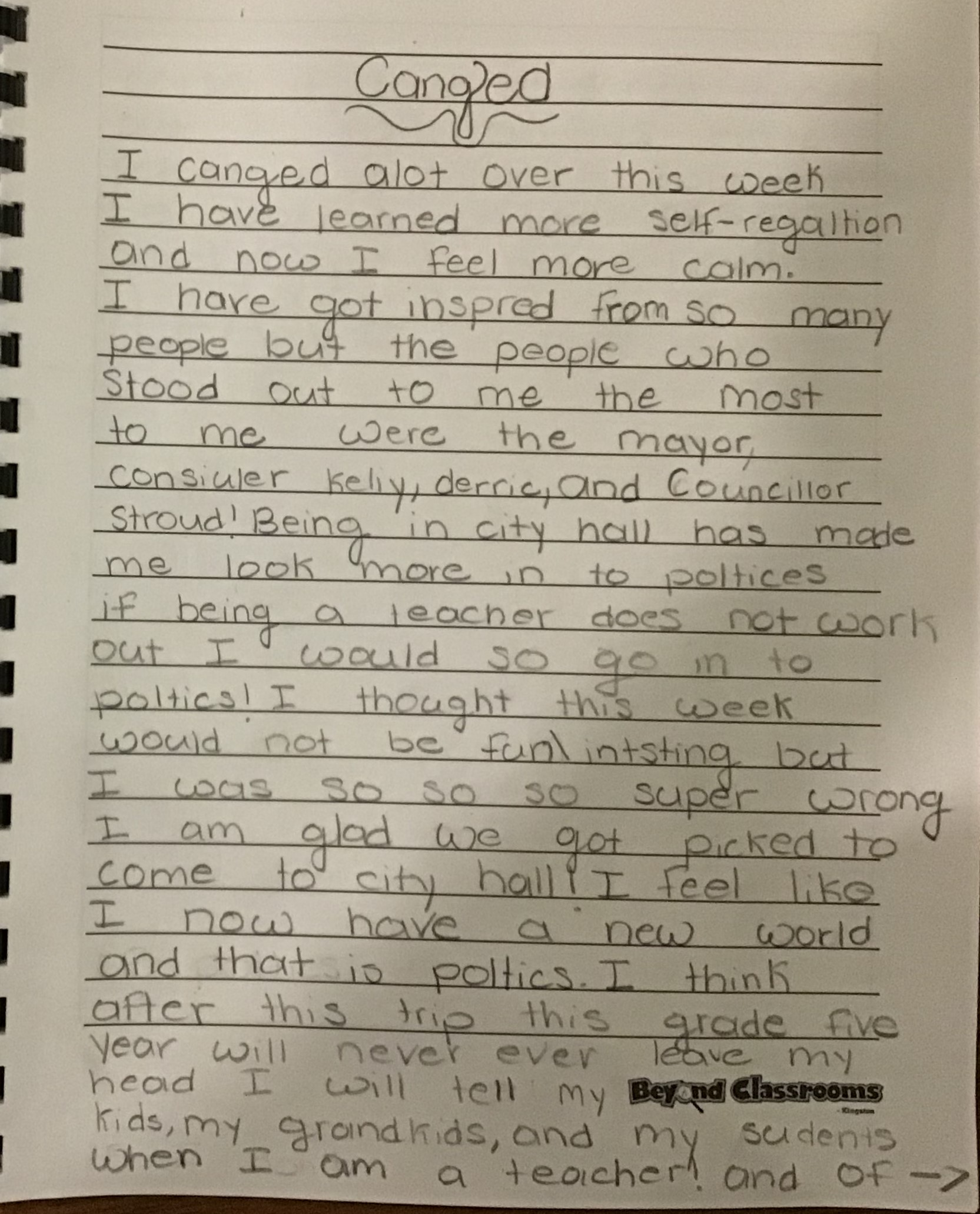 Student journal about impact