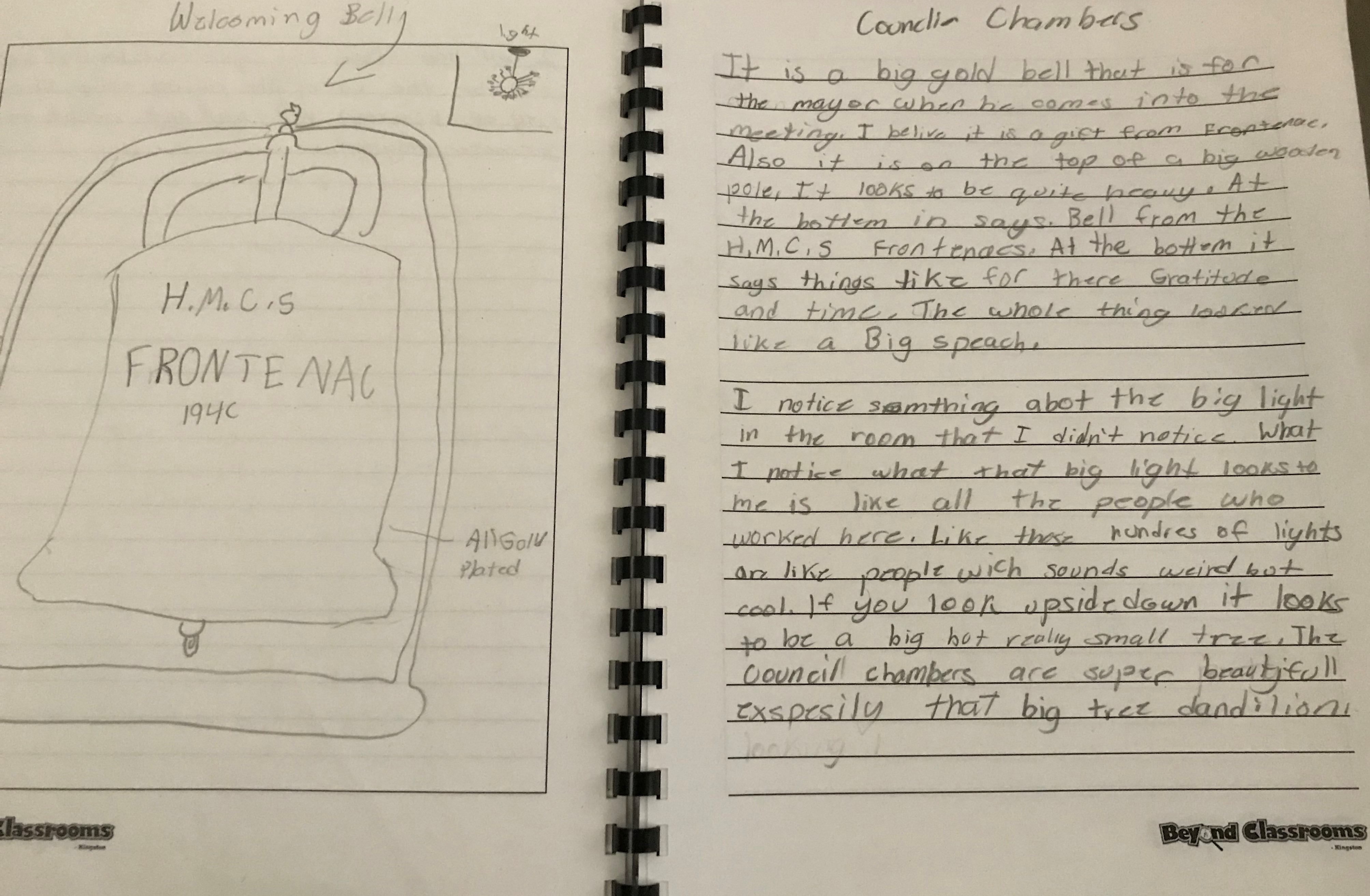 student journal about artifact