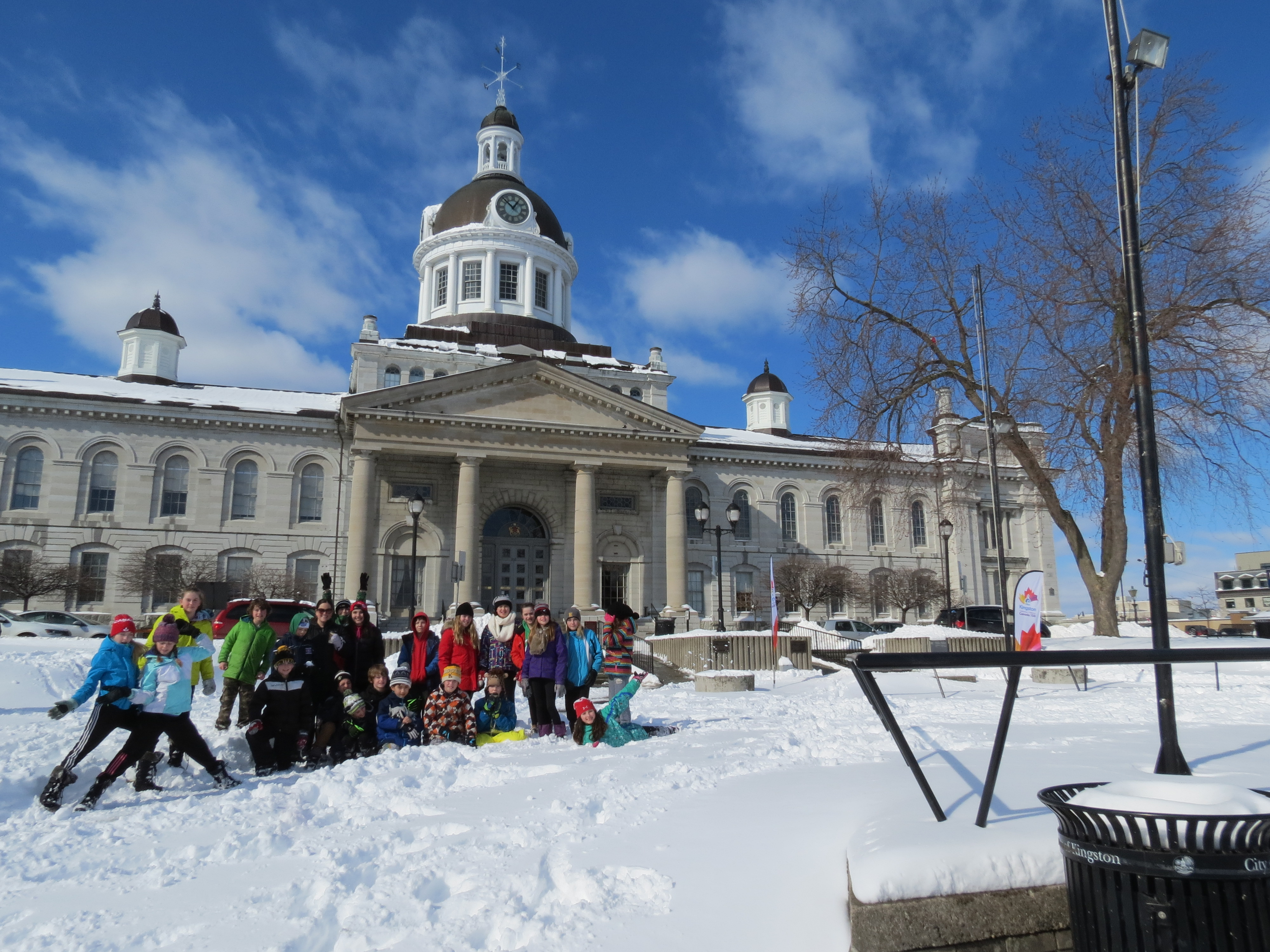 Students in front of Kingston City Hall a National Historic Site